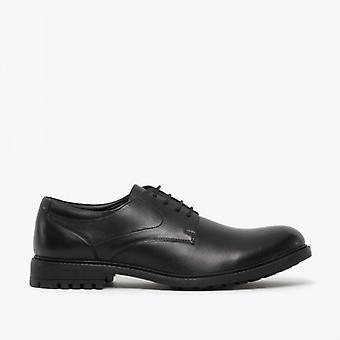 Dr Keller Ezra Mens Leather Derby Shoes Black