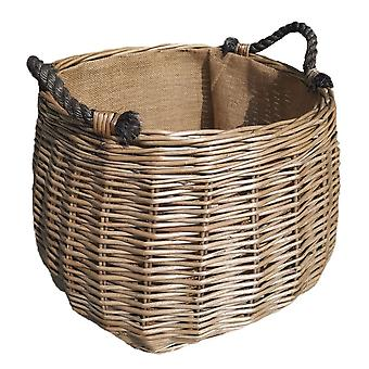 Curva sided antique lavagem hessian alinhado wicker log basket