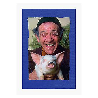 TV Times Sid James Holding A Pig A4 Print