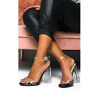 IKRUSH Womens Lois Barely There Clear Block Heels