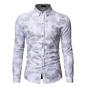 Allthemen Mens Lapel Long Sleeve Gold Print Shirt Casual Slim Fit Square Neck T-Shirt 4 Colors