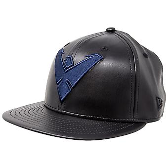 Nightwing Symbol Black Faux Leather New Era 59Fifty Fitted Hat.