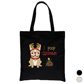 Frenchie Christmas Poop Cute Canvas Bag X-mas Present