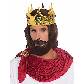 Royal King Renaissance Medieval Men Costume Wig Beard & Moustache