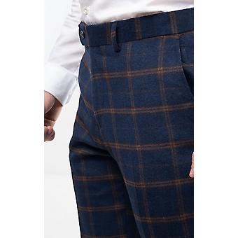 Dobell Mens Navy Tweed Trousers Regular Fit Rust Check