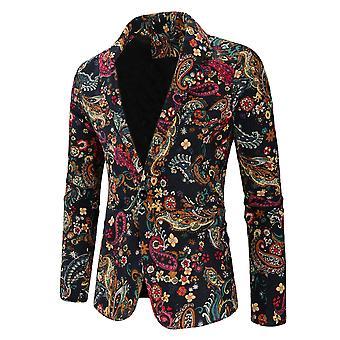 Allthemen Men's Casual Elegante Un botón Impreso Patrón Floral Blazer