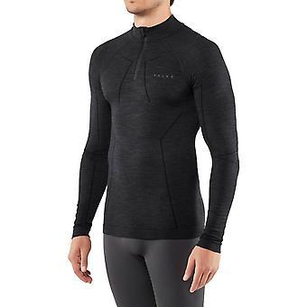 Falke Langarm wolle Reißverschluss Shirt - schwarz
