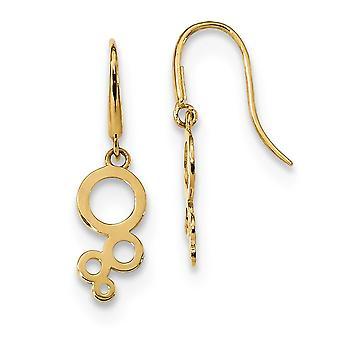 5,8 mm 14k Madi K für Jungen oder Mädchen Blasen baumeln Draht Ohrringe - .5 Gramm