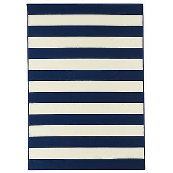 Outdoor carpet for Terrace / balcony blue white coastal living stripes Navy 133 / 190 cm carpet indoor / outdoor - for indoors and outdoors