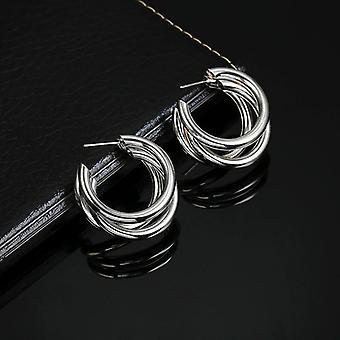 Silber C geformt mehrschichtige Ohrringe