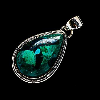 Chrysocolla Pendant 1 1/2-quot; (925 Sterling Silver) - Handmade Boho Vintage Jewelry PD722030