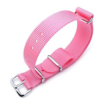 Strapcode n.a.t.o watch strap miltat 18mm or 20mm g10 military watch strap ballistic nylon armband, polished - pink