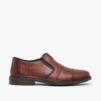 ريكر 17661-23 رجال الجلود زلة على تناسب واسع أحذية المتسكع براون