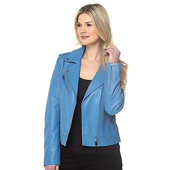 Grasmere Leather Biker Jacket in Chambray Blue