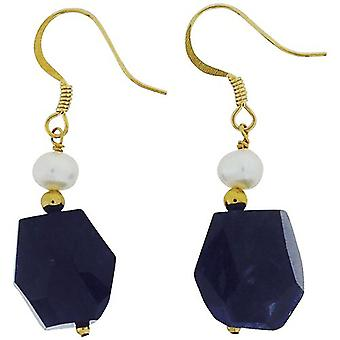 TOC Treated Amethyst & Freshwater Cultured Pearl (5mm) Drop Earrings 43mm