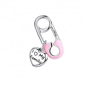 Sterling Silver Pendant Charm Safety Pin I Love My Family - 6140