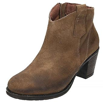 JWF Brown Suede bottines en cuir bloc talon Cowboy Chelsea