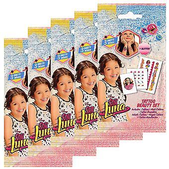 5-Pack Soy Luna Tattoo Mini Tattoos Glitter Nail Decoration