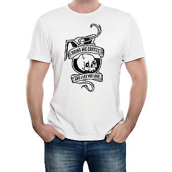 Reality glitch brengen me koffie mens t-shirt