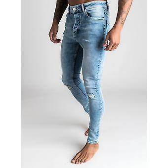 Gym King Denim Paco Jeans Rip and Repair - Mid Wash