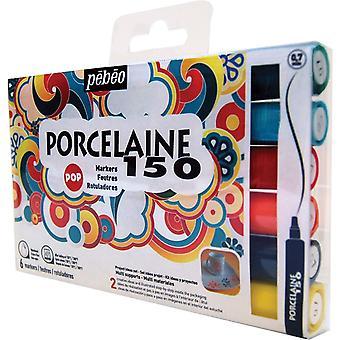 Pebeo Porcelaine 150 Markers 6 x 0.7mm Nibs (Pop Set)
