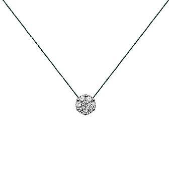 Choker Flower Cluster 18K Gold and Diamonds, on Thread - White Gold, Pine Tree