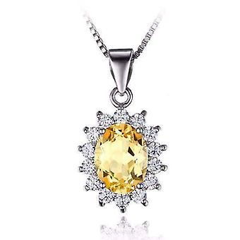 Spanish gold halo 2.5ct genuine citrine iobi precious gems pendant necklace