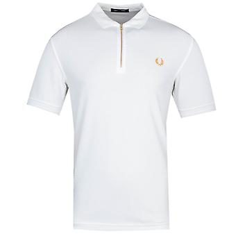 Fred Perry Zip Neck White Polo Shirt