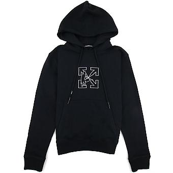 Off-White Off White Workers Logo Slim Hooded Sweat Zwart / wit