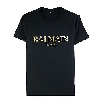 Balmain Logo Print Cotton T Shirt Noir/or