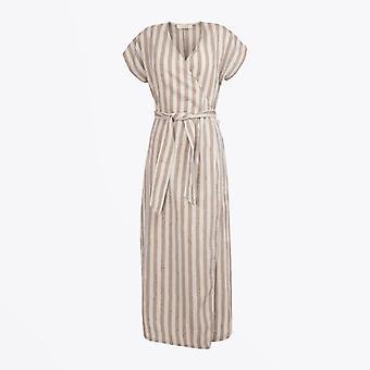 A-line - Striped Maxi Dress - Marrone
