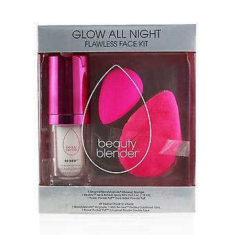 Glow all night flawless face kit: 1x original beautyblender + 1x re dew set & refresh spray mini + 1x power pocket puff 252050 3pcs