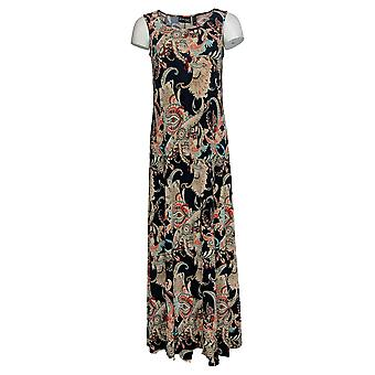 Attitudes by Renee Dress Printed Maxi Dress Paisley Navy Blue A375406