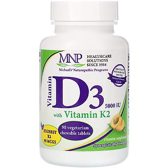 Michael's Naturopathic, Vitamin D3 with Vitamin K2, Natural Apricot Flavor, 5,00