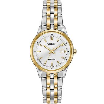 Citizen Watches Ew2404-57a Ladies Eco-drive Two Tone Gold Stainless Steel Watch