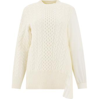 Sacai 05347178 Femme-apos;s Pull en laine blanche