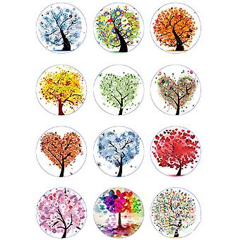 200PCS DIY medál üveg gomb kromatikus kerek fa az élet típusa 12x4mm