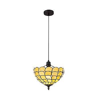 Luminosa-valaistus - 1 vaalea uplighter kattoriipus E27 30cm Tiffany Shade, Beige, Kirkas kristalli, Musta