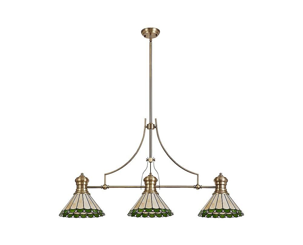 Luminosa Lighting - 3 Light Telescopic Ceiling Pendant E27 With 30cm Tiffany Shade, Antique Brass, Green, Crystal