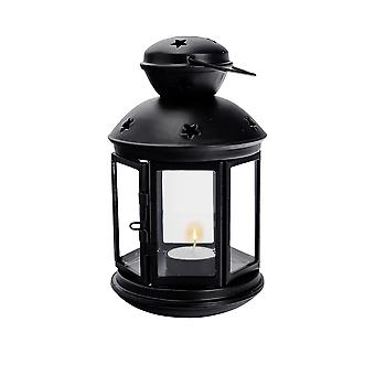 Nicola Spring Candle Lanterns Tealight Holders Vintage Metal Hanging Indoor Outdoor - 20cm - Black