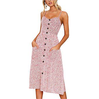 Angashion Women's Dresses-Summer Floral Bohemian Spaghetti, Pink, Size X-Large