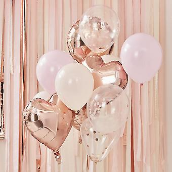Blush Pink & Rose Gold Balloon Bundle |  Party Decoration Backdrop Mix x12
