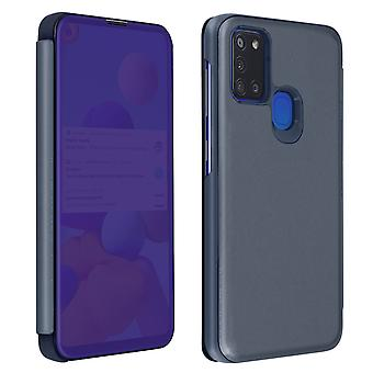 Back cover for Samsung A21s Translucent flap Mirror with Video support Dark Blue