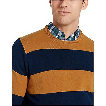 Essentials Menn's Midweight Crewneck Genser, Sennep/Navy, Medium