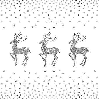 アンビエンテ 3 プリ紙 ナプキン、鹿とドット ホワイト シルバー