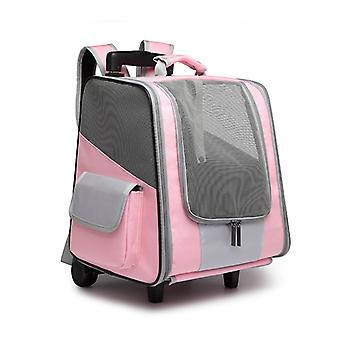 Double Wheels Travel Carrier Pet Backpack