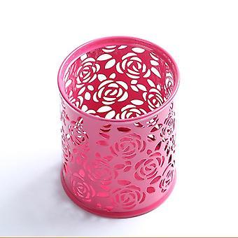 מתכת חלולה רוז פרח עיצוב צילינדר עט עיפרון סיר, מחזיק, עט אחסון