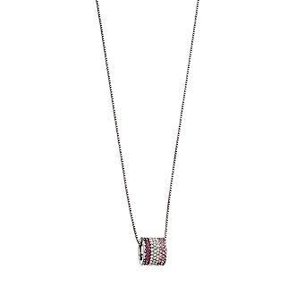 Fiorelli Silver Womens 925 Sterling Silver Rosa & Lila nyanser Preciosa Crystal Fat Hänge Halsband av längd 41cm + 5cm