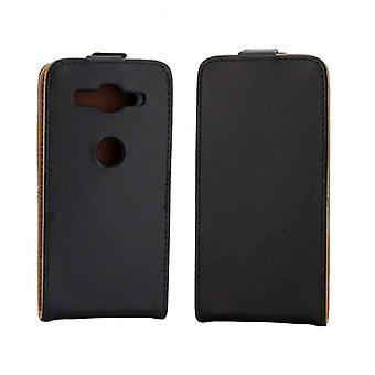Voor Sony Xperia XZ2 Compact Vertical Flip Leather Protective Back Cover Case met kaartsleuf (zwart)