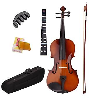 Full Size Natural Acoustic Violin Fiddle With Case Bow, Rosin Mute Stickers